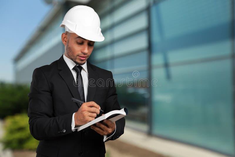 Trabalhador da construção afro-americano imagens de stock