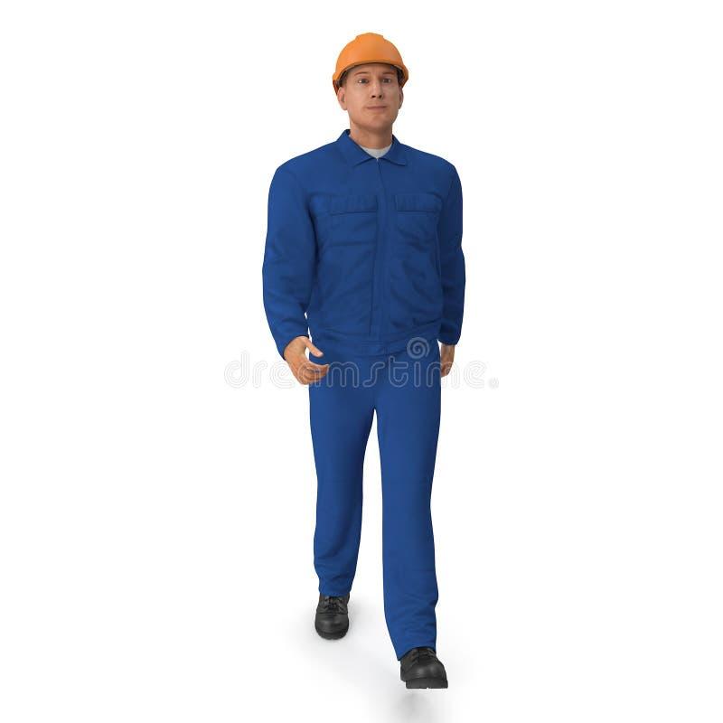 Trabalhador da construção In Blue Coverall com pose da posição do capacete de segurança ilustração 3D, isolada, no branco ilustração stock
