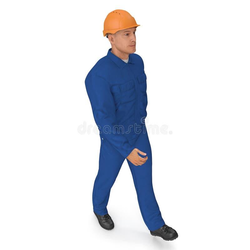 Trabalhador da construção In Blue Coverall com pose da posição do capacete de segurança ilustração 3D, isolada, no branco ilustração royalty free
