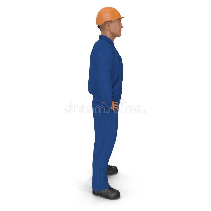 Trabalhador da construção In Blue Coverall com pose da posição do capacete de segurança isolado no fundo branco ilustração 3D ilustração stock