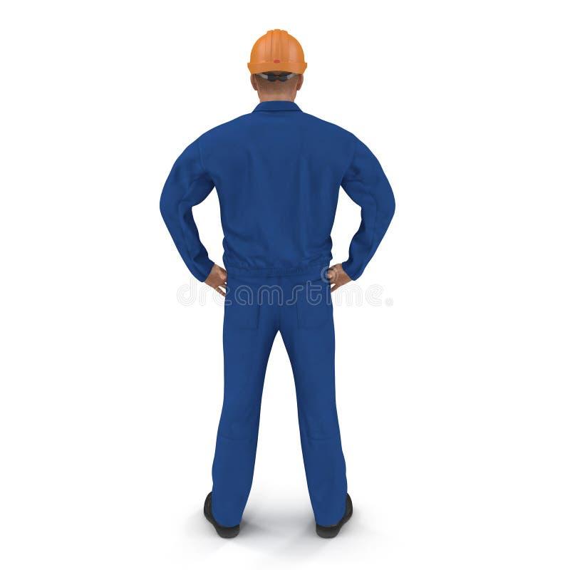 Trabalhador da construção In Blue Coverall com pose da posição do capacete de segurança isolado no fundo branco ilustração 3D ilustração royalty free