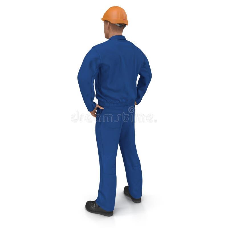 Trabalhador da construção In Blue Coverall com pose da posição do capacete de segurança isolado no fundo branco ilustração 3D ilustração do vetor