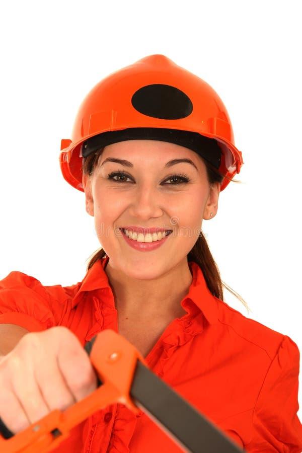 Trabalhador da construção bonito imagem de stock