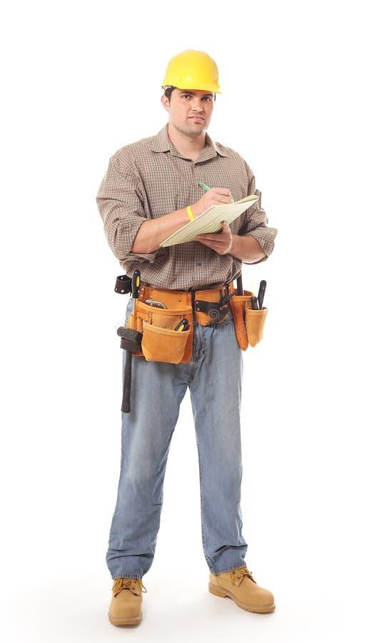 Trabalhador da construção cheio do comprimento foto de stock royalty free
