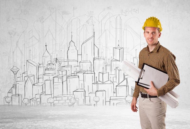 Trabalhador da construção com fundo da arquitetura da cidade imagem de stock