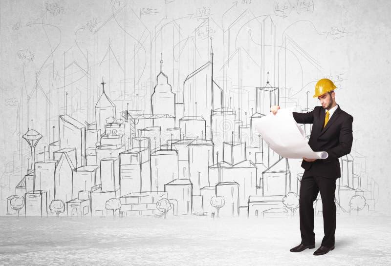 Trabalhador da construção com fundo da arquitetura da cidade foto de stock