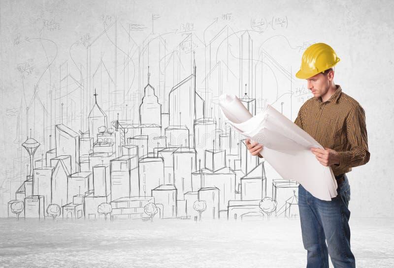 Trabalhador da construção com fundo da arquitetura da cidade imagem de stock royalty free