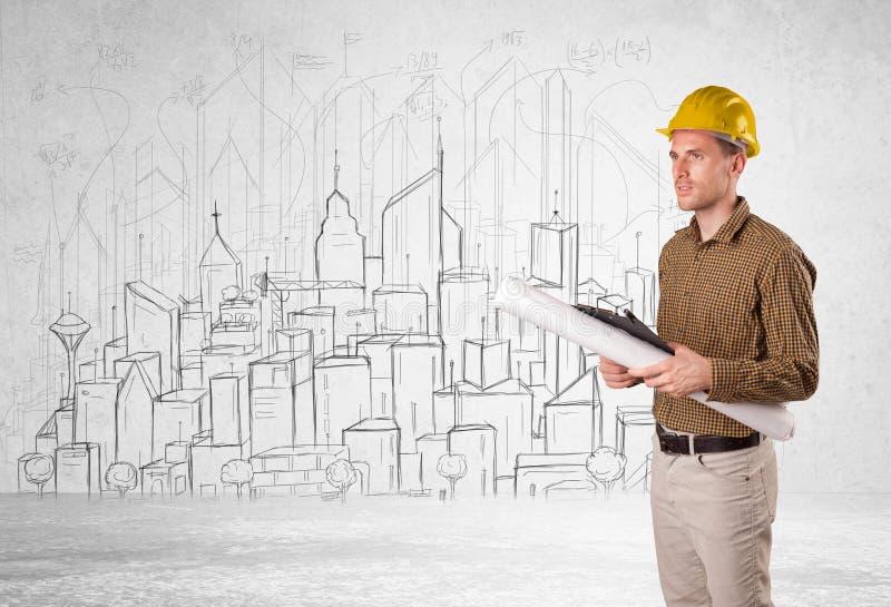 Trabalhador da construção com fundo da arquitetura da cidade imagens de stock royalty free