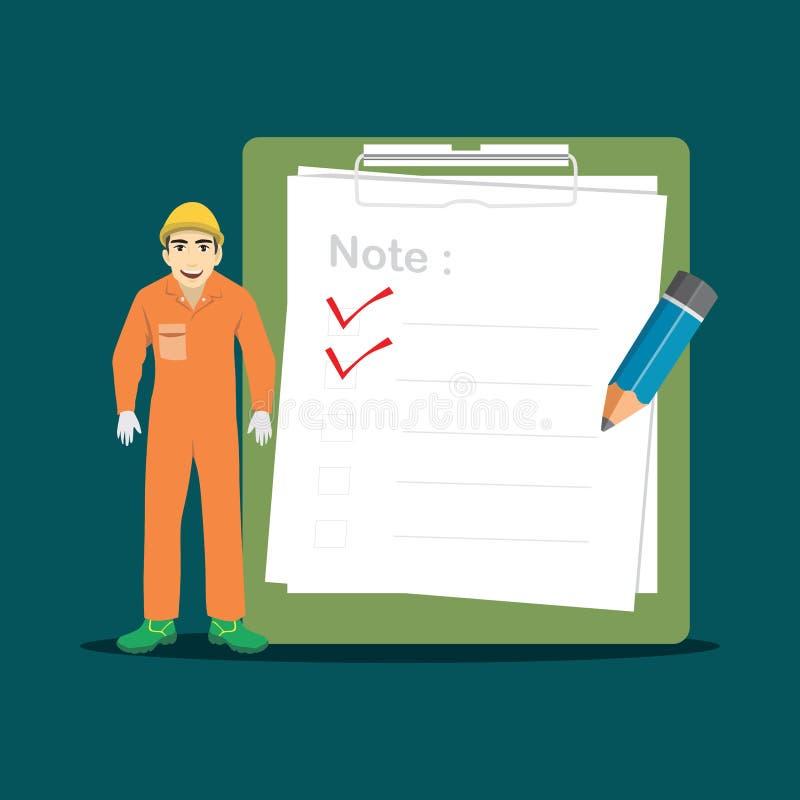 Trabalhador da construção com ilustração grande do vetor da prancheta e da lista de verificação ilustração royalty free