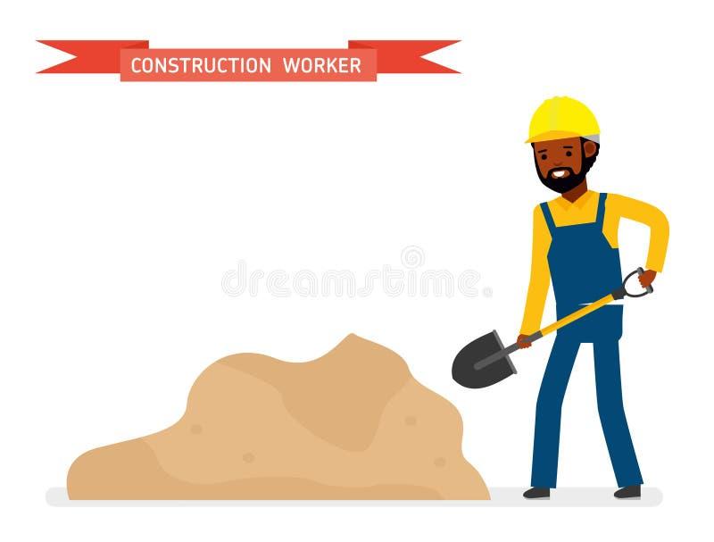 Trabalhador da construção com a pá perto da areia Isolado contra o fundo branco Ilustração do vetor ilustração royalty free