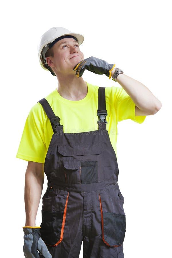 Trabalhador da construção confuso fotografia de stock