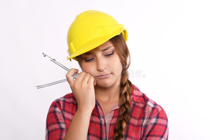Trabalhador da construção da mulher foto de stock royalty free