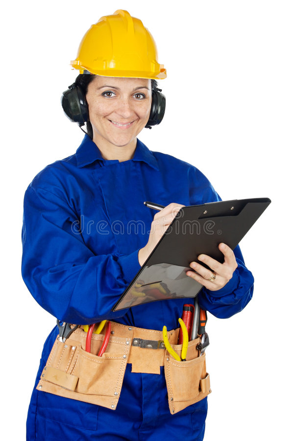 Trabalhador da construção da senhora foto de stock