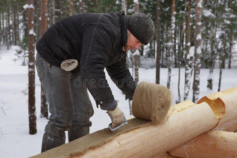 Trabalhador da construção de construção do log que coloca a isolação entre foto de stock royalty free