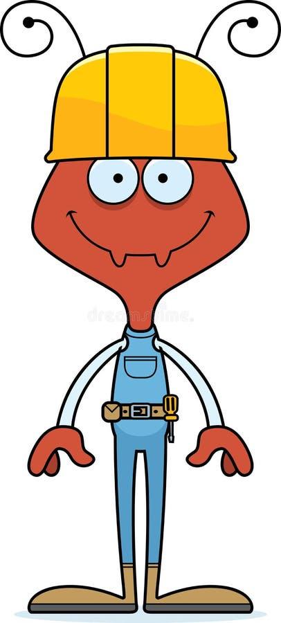 Trabalhador da construção de sorriso Ant dos desenhos animados ilustração royalty free