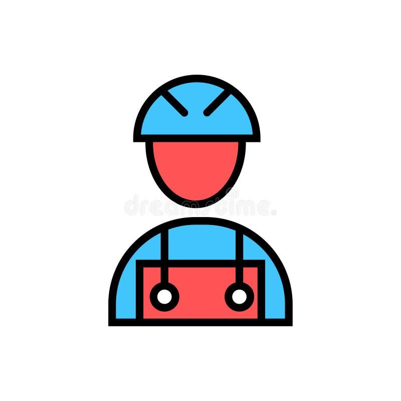 Trabalhador da construção do símbolo do sinal do vetor do ícone do trabalhador da construção ilustração stock