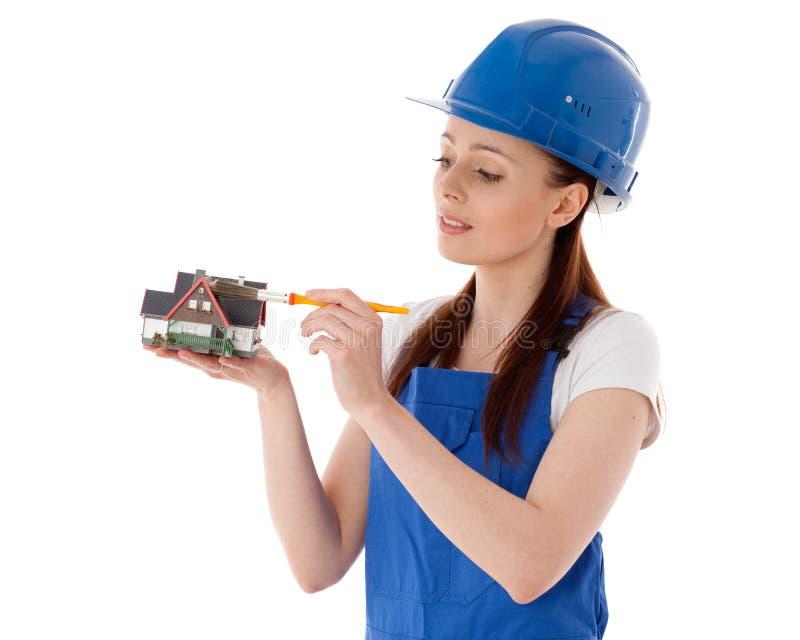 Trabalhador da construção fêmea. foto de stock