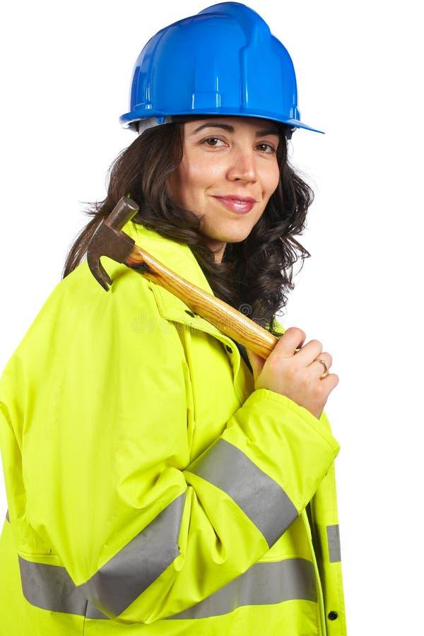 Trabalhador da construção fêmea imagem de stock