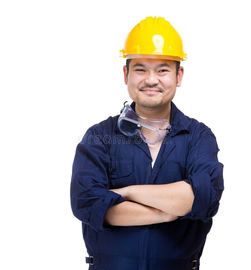 Trabalhador da construção feliz de Ásia fotos de stock royalty free