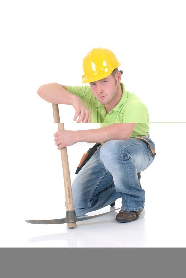 Trabalhador da construção incomodado fotografia de stock