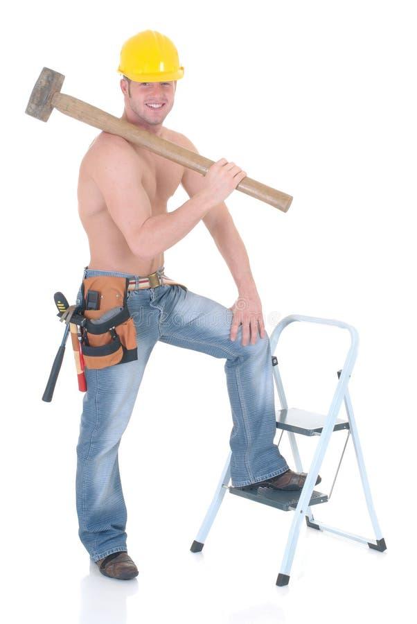 Trabalhador da construção macho imagens de stock