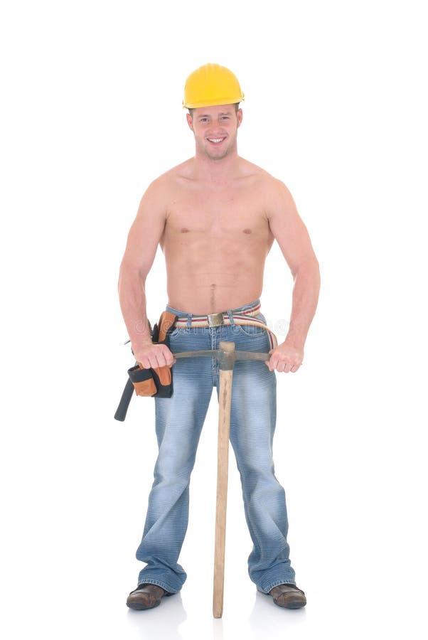 Trabalhador da construção macho imagens de stock royalty free