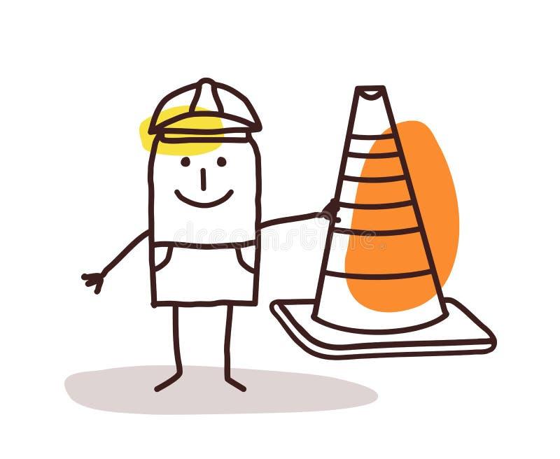 Trabalhador da construção Man With um sinal do cone ilustração do vetor