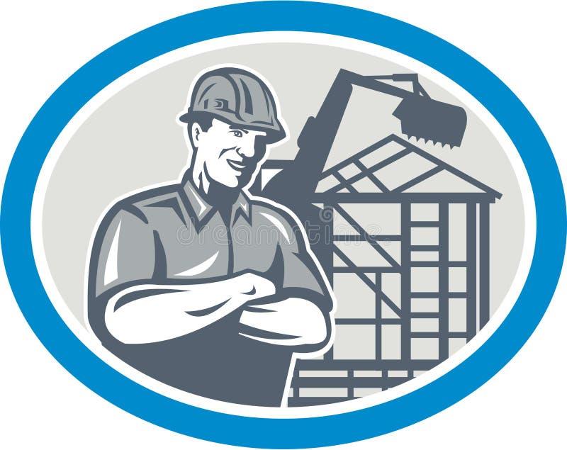 Trabalhador da construção Mechanical Digger Oval do construtor ilustração royalty free