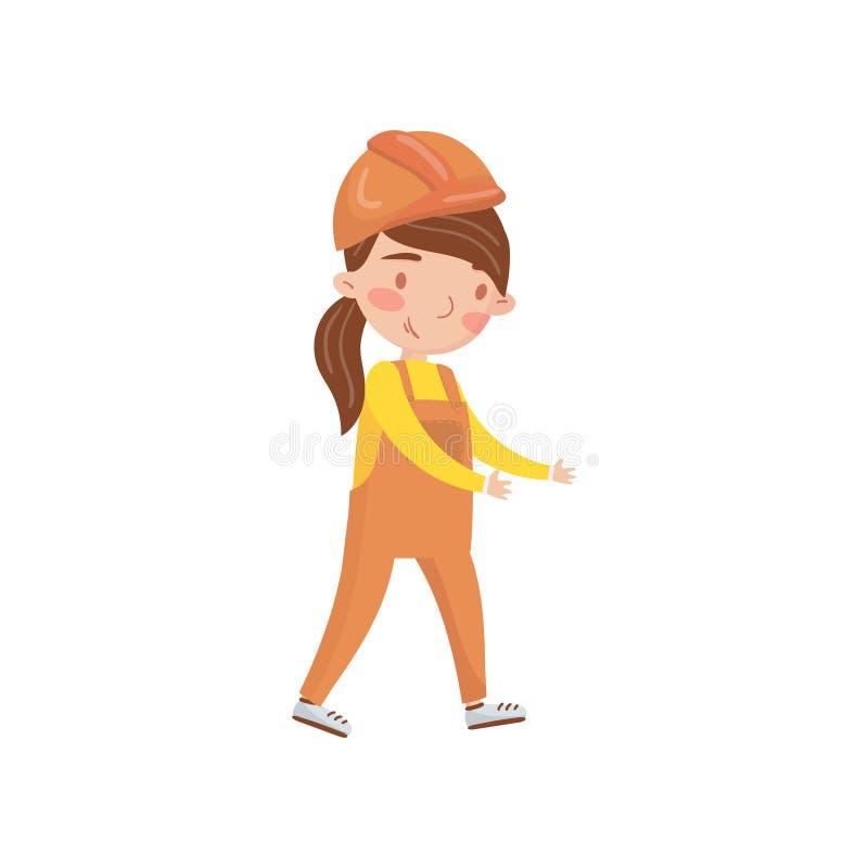 Trabalhador da construção da menina no capacete de segurança protetor e em atividades e na educação totais, prées-escolar da prim ilustração stock