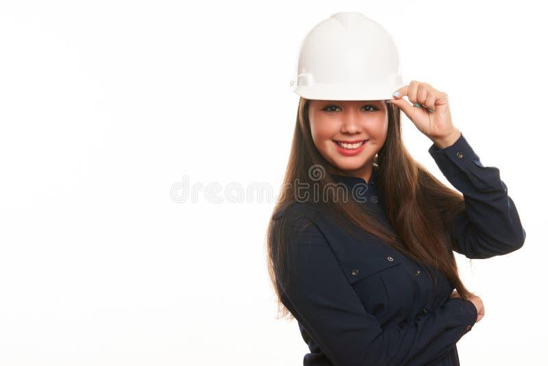 Trabalhador da construção da mulher ou coordenador do arquiteto fotos de stock