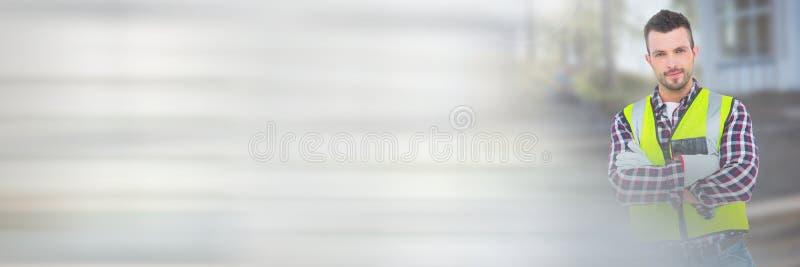 Trabalhador da construção na frente do canteiro de obras com efeito da transição fotografia de stock