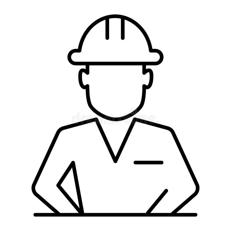 Trabalhador da construção na linha fina ícone do capacete Ilustração do vetor do avatar do construtor isolada no branco Esboço do ilustração stock