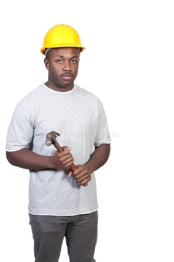Trabalhador da construção preto imagens de stock