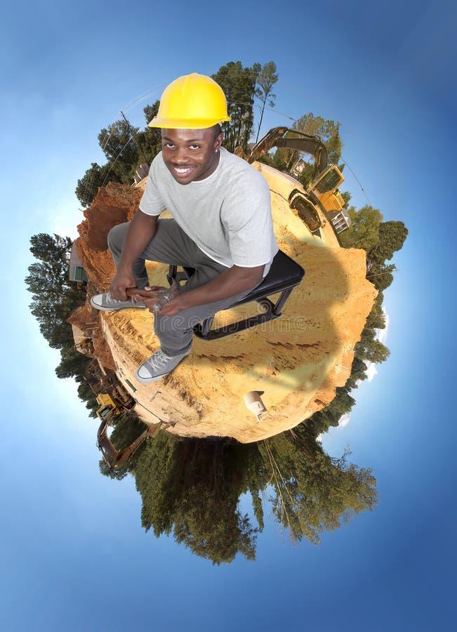 Trabalhador da construção preto foto de stock royalty free