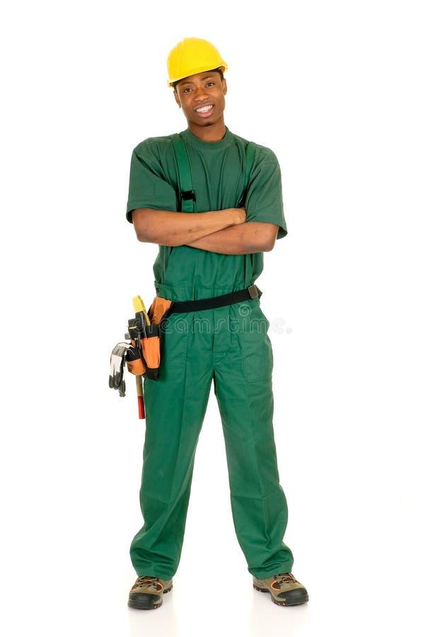 Trabalhador da construção preto fotografia de stock