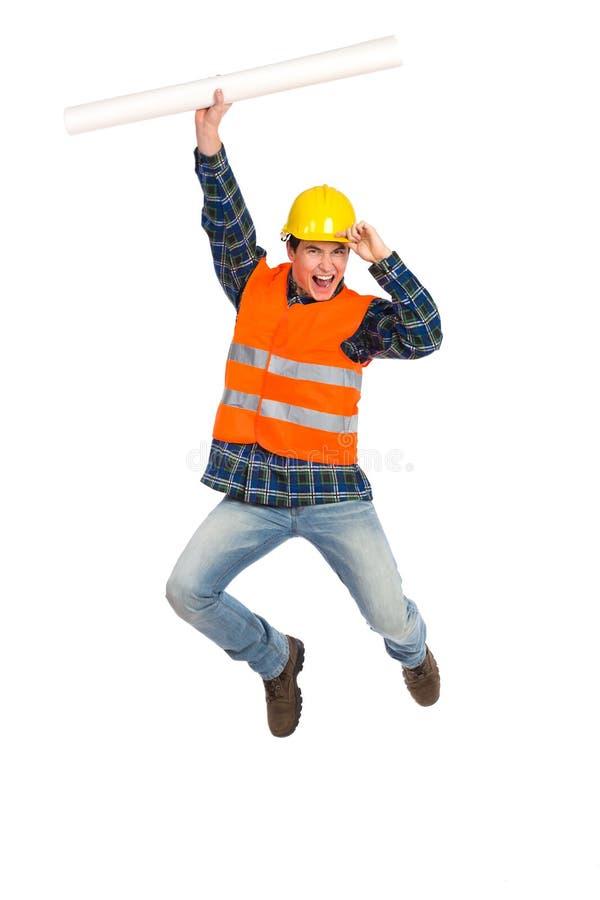 Trabalhador da construção que comemora o sucesso. imagens de stock royalty free