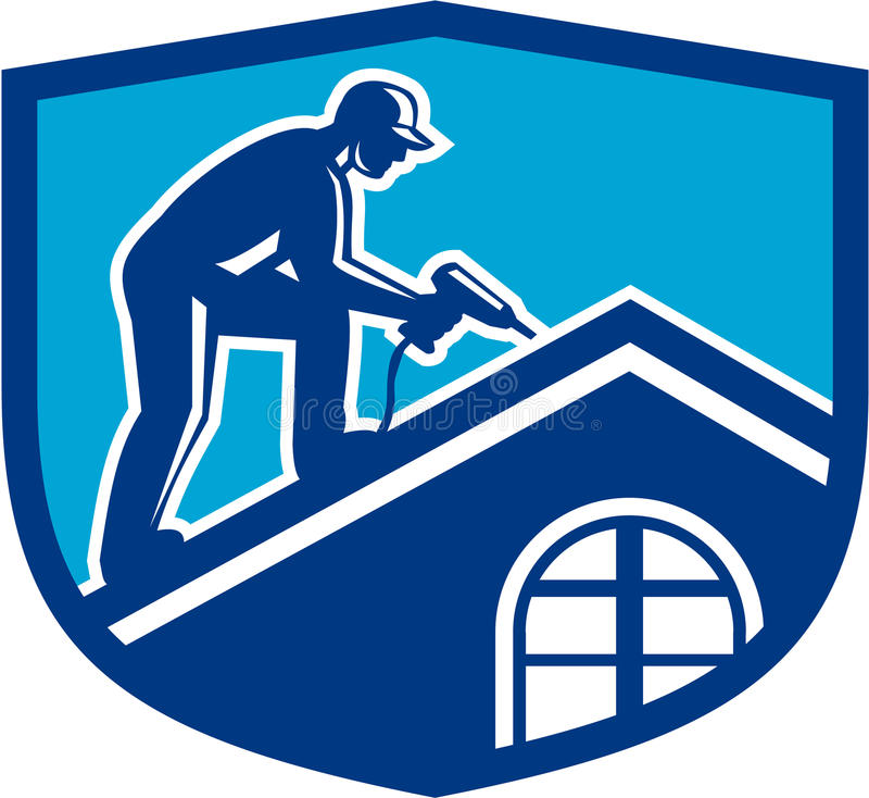 Trabalhador da construção Working Shield Retro do Roofer ilustração royalty free