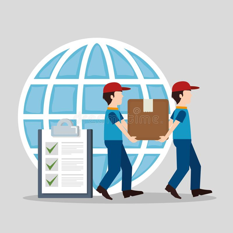 Trabalhador da entrega com caráter da lista de verificação ilustração stock