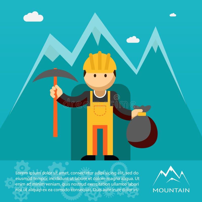 Trabalhador da montanha com picareta e saco de ouro ilustração do vetor