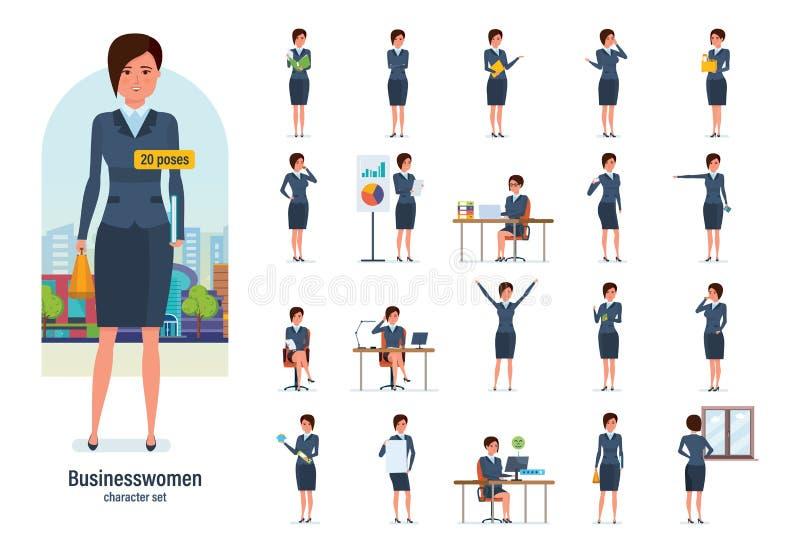 Trabalhador da mulher de negócios no vestuário formal Poses diferentes, emoções, gestos ilustração stock