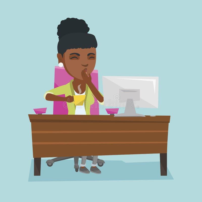 Trabalhador de escritório cansado afro-americano novo que boceja ilustração stock
