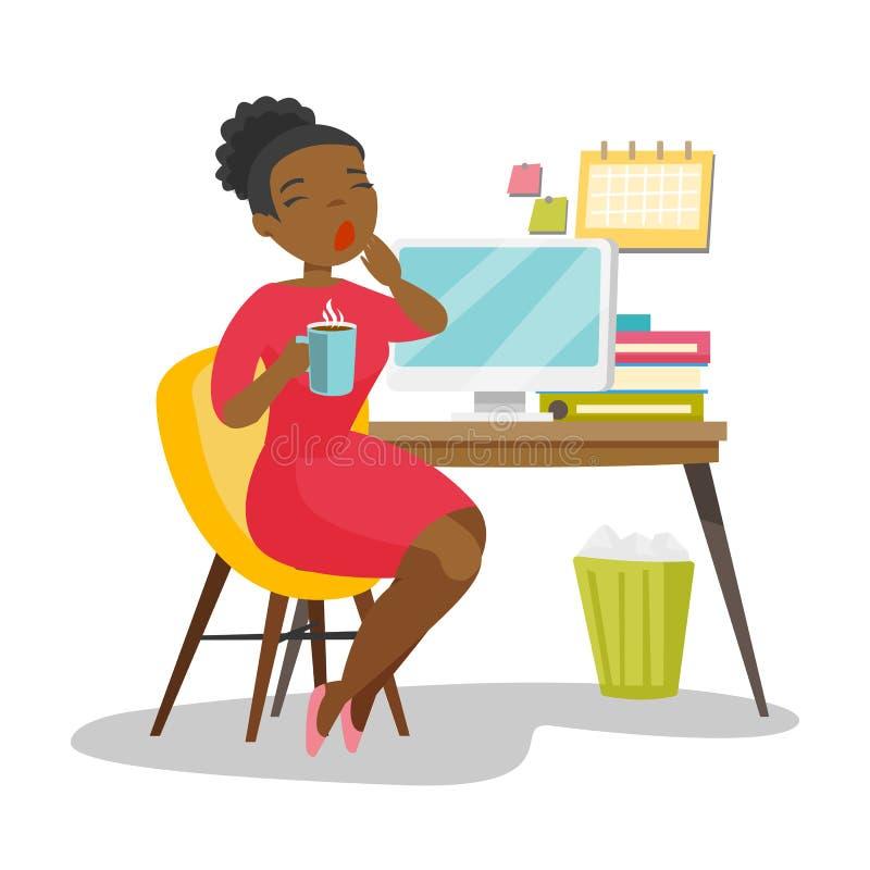 Trabalhador de escritório cansado afro-americano novo que boceja ilustração do vetor