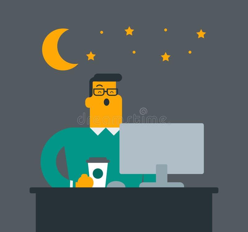 Trabalhador de escritório cansado branco caucasiano novo que boceja ilustração do vetor