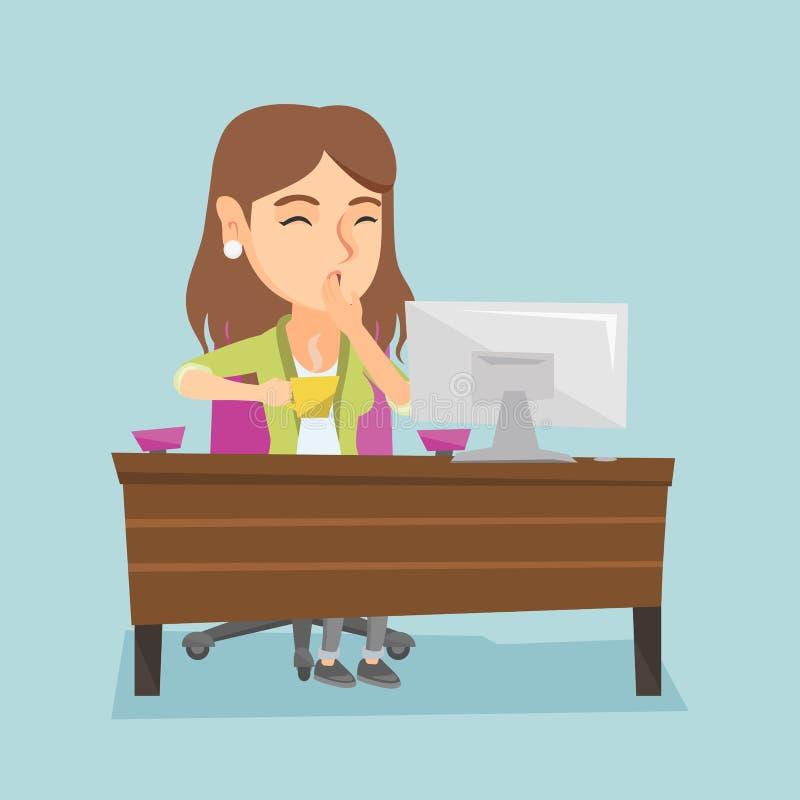 Trabalhador de escritório cansado caucasiano novo que boceja ilustração do vetor