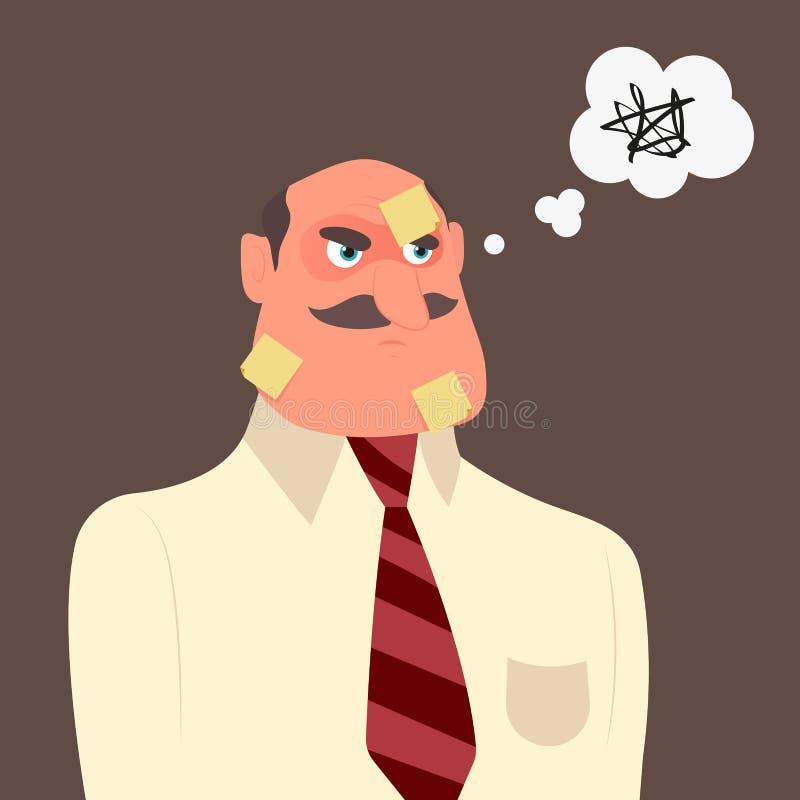 Trabalhador de escritório com muitas notas sucintas em sua cara ilustração stock