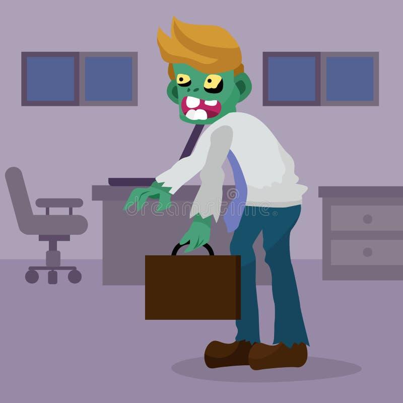 Trabalhador de escritório do zombi dos desenhos animados, ilustração do caráter do homem de negócios ilustração stock