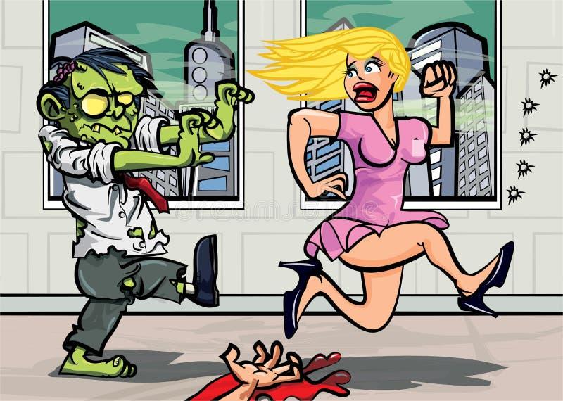 Trabalhador de escritório do zombi dos desenhos animados que persegue uma menina ilustração do vetor