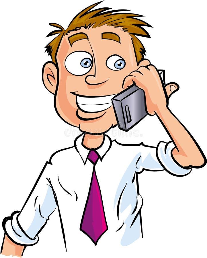 Trabalhador de escritório dos desenhos animados que faz o telefonema ilustração do vetor