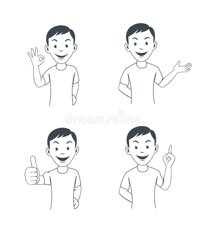 Trabalhador de escritório engraçado dos desenhos animados em várias poses ilustração do vetor