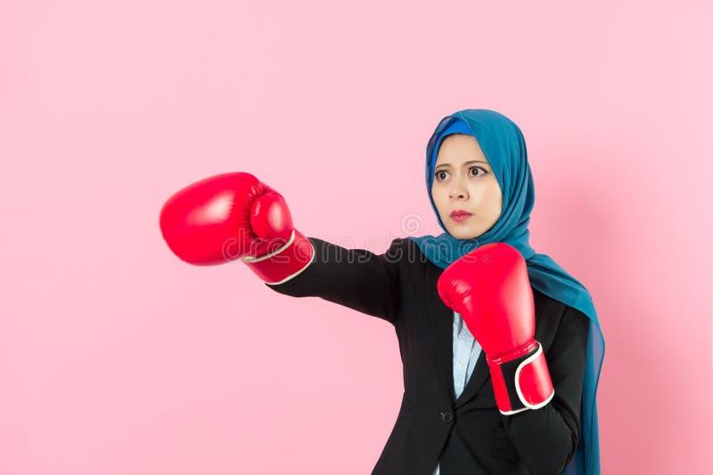 Trabalhador de escritório fêmea muçulmano seriamente novo fotos de stock